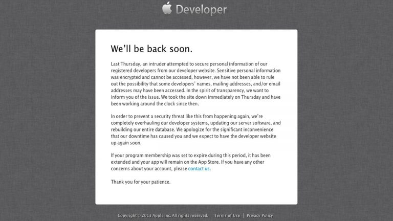 Apple Developer Site Taken Down After Hacking Threat