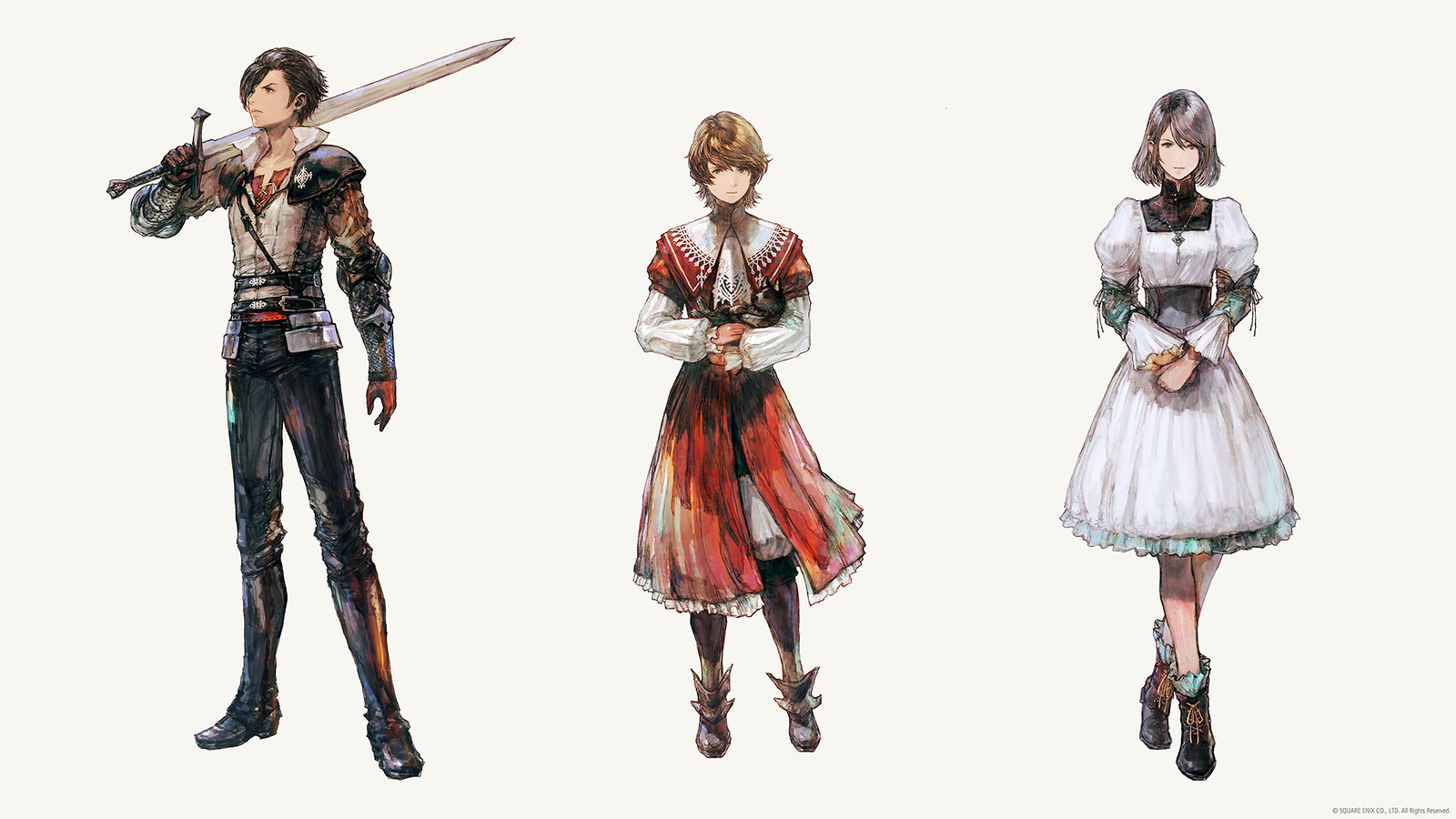 Three protagonists of Final Fantasy XVI - Clive and Joshua Rosfield, and their adopted sister Jill Warrick.